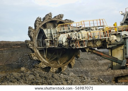 Coal mining in action, this is coal heavy equipment - stock photo
