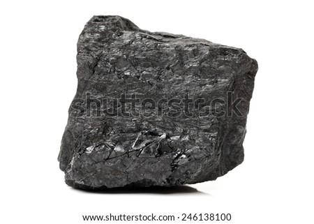 Coal on a white background - stock photo