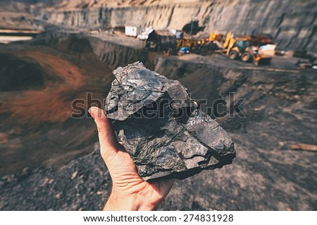 Coal on the palm - Czech Republic - stock photo