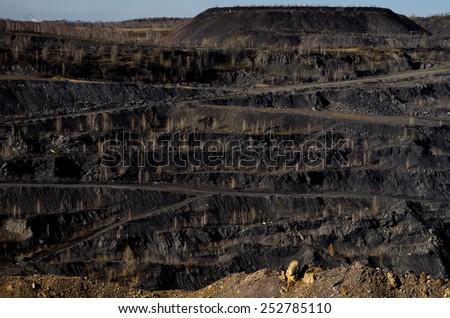 Coal opencast - stock photo