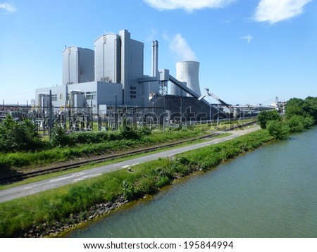 Coal power plant Hanover on the side of the Mittelland Canal, Germany - stock photo