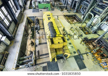 electric generator power plant. Coal Power Plant. Industry Interior With Turbine, Electric Generator. Production Of Energy Generator Plant