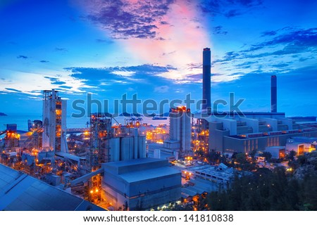 coal power station and cement plant at night