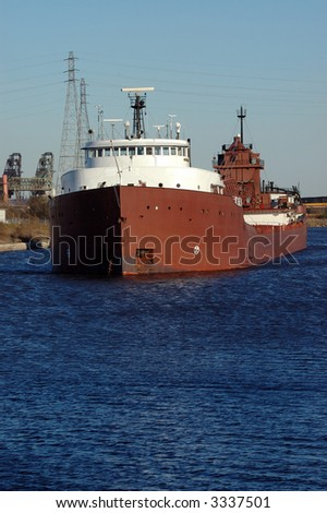 Coal Ship, Detroit River - stock photo