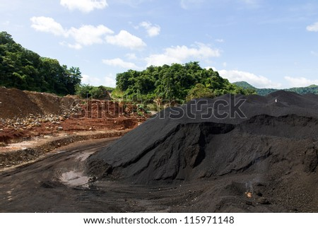 Coal Stock pile. used in the industry. - stock photo