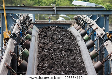 coal transportation line  for processing - stock photo