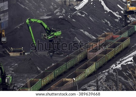 coal unloading of wagons with special cranes - stock photo