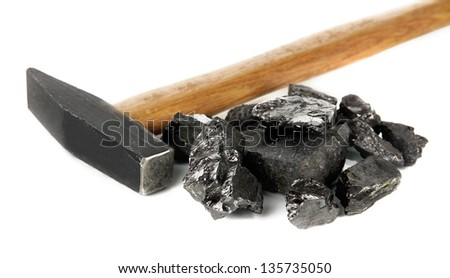 Coal with hummer isolated on white - stock photo