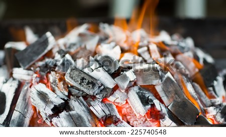 Coals burning in the brazier for barbecue - stock photo