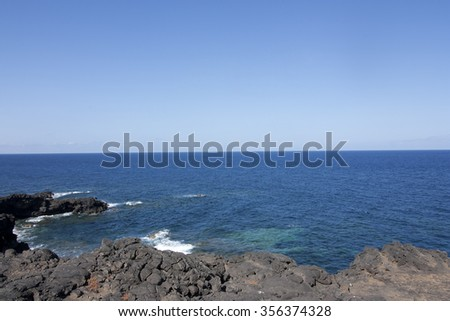 Coast at Timanfaya National Park, Lanzarote, Canary Islands, Spain.