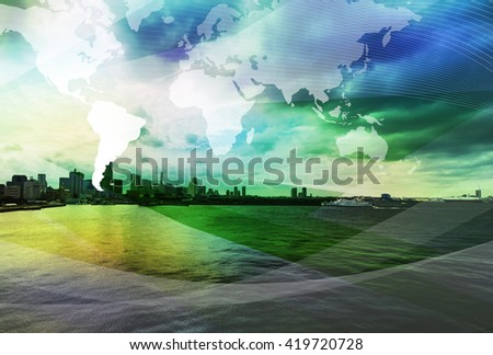 coast city and global business, abstract image visual