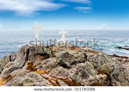 Coast della Morte. Faro Corme. Galicia, Spain. - stock photo