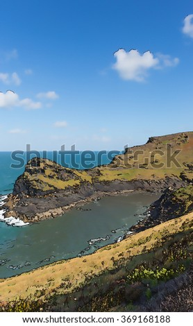 Coast entrance to Boscastle harbour North Cornwall England UK between Bude and Tintagel England UK on a beautiful sunny blue sky day illustration
