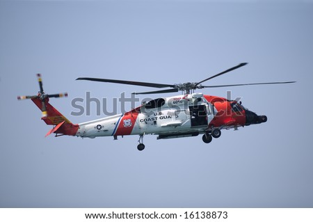 Coast Guard Jayhwak Helicopter hovering