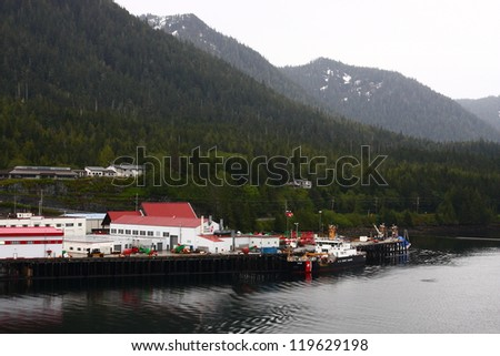 Coast guard station ont he coast of Alaska near Ketchikan - stock photo