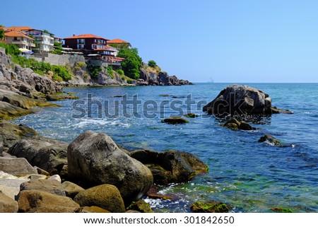 Coast in old town of Sozopol, Bulgaria - stock photo