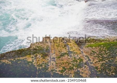 coast line blue sea tree at australia sydney bondi beach - stock photo