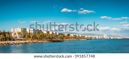 Coast line of Limassol, Cyprus. Panoramic photo. - stock photo