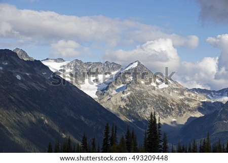 Coast Mountains by Whistler, British Columbia, Canada - with cloudy sky