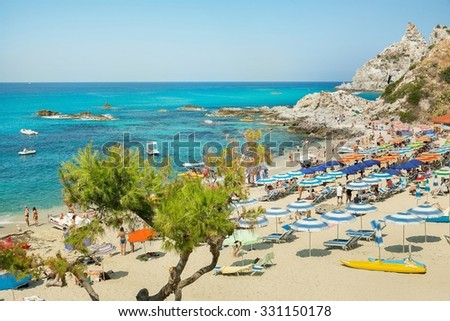 Coast near the town of Capo Vaticano region Calabria - Italy in this photo is not a recognizable face and does not infringe the copyright of third parties - stock photo