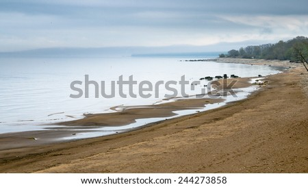 Coast of Baltic sea early in the morning - stock photo