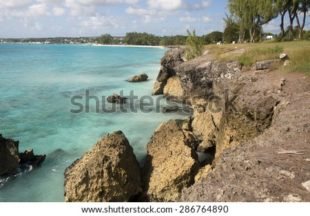 Coast of Barbados island, Caribbean - stock photo