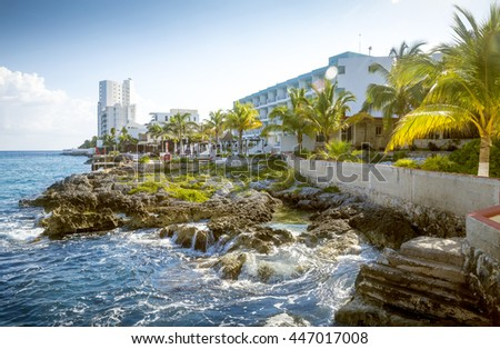 Coast of Cozumel Island, Quintana Roo, Mexico - stock photo