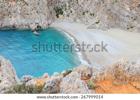 Coast of Crete island in Greece. Beach in Agiofaraggo. - stock photo