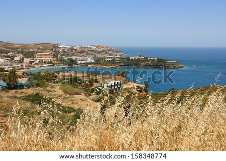 Coast of Crete island in Greece. Hotels in Agia Pelagia.