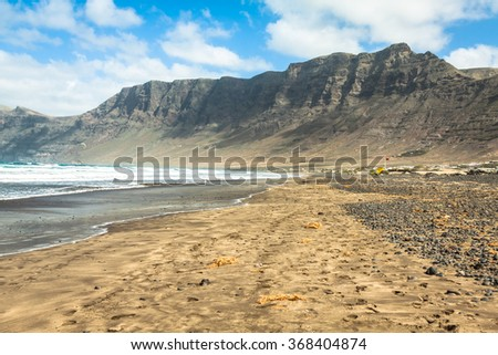 coast of Famara beach, Lanzarote Island, Canary Islands, Spain - stock photo