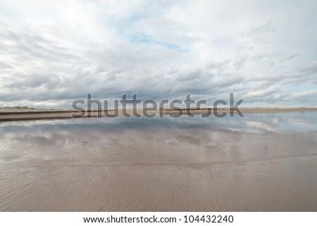 Coast of gulf of Riga, Baltic sea. - stock photo