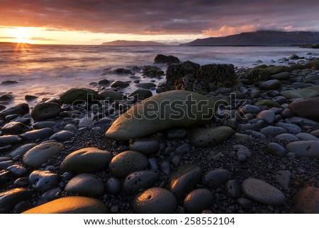 Coast of Iceland in capital city Reykjavik.North Atlantic Ocean/ Iceland coast - stock photo