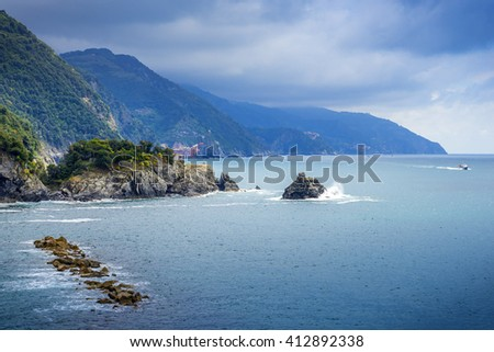 coast of La Spezia province in Luguria, Italy