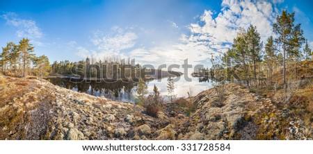 Coast of Lake. Panorama, landscape - stock photo