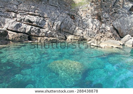 Coast of Mallorca from Soller to Torrent des Pareis Balearic islands Spain - stock photo