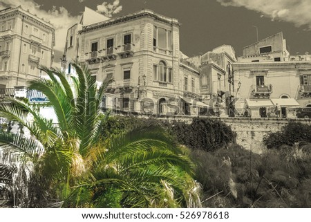 Coast of Ortigia island at city of Syracuse, Sicily, Italy. Beautiful travel photo of Sicily. Modern painting style texture. Travel illustration.