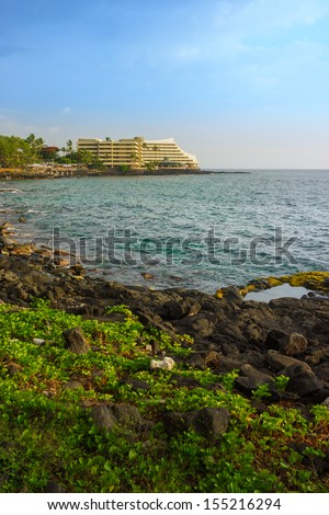 Coast of pacific in Kailua Kona, Hawaii, USA - stock photo