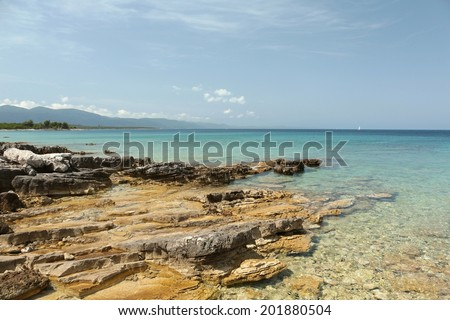 Coast of the Adriatic Sea near the village of Loviste in Croatia. - stock photo
