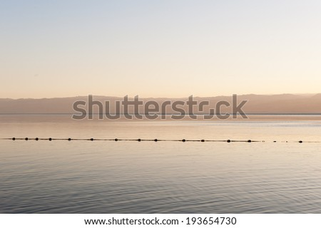 Coast of the Dead Sea, Israel, the deepest hypersaline lake in the world. With 33.7% salinity, - stock photo