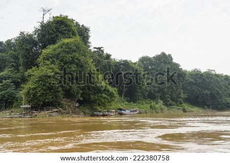 Coast of the Mekong river, 7-th longest river in Asia - stock photo