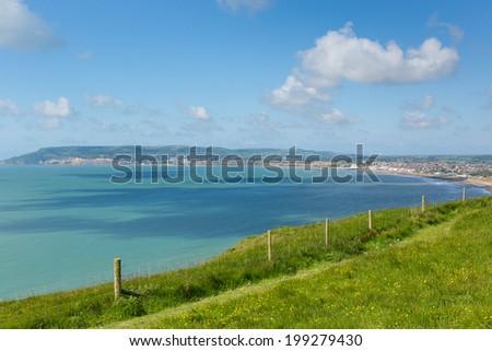 Coast path Bay and coastline Shanklin and Sandown Isle of Wight - stock photo