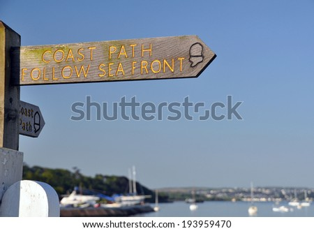 Coast Path Sign ~ South West Coastal Path at Instow (Bideford) North Devon - stock photo