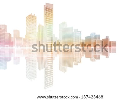 Coast urban landscape with skyscrapers and office buildings - stock photo
