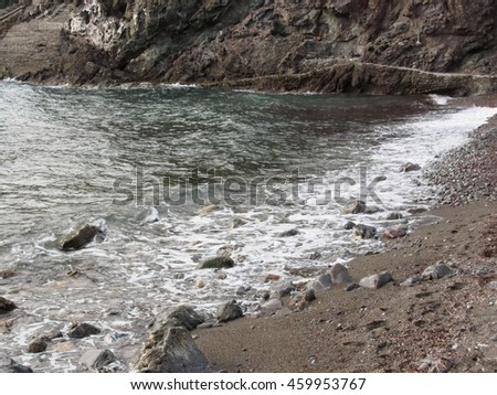 Coast with stones and sea in Livorno, Tuscany, Italy