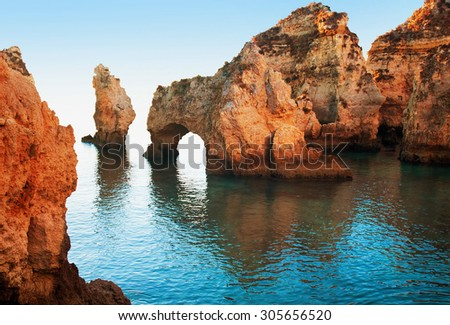 Coastal cliffs (Ponta da Piedade), Lagos, Portugal - stock photo
