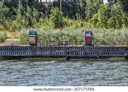 Coastal filling station for boats - stock photo