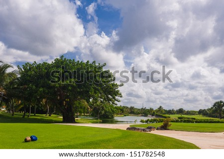 Coastal Golf Course in Tropical Paradise. Summertime holyday in Dominican Republic, Seychelles, Caribbean, Bahamas. Hawaiian Golf Course on Green Ocean Shore. Luxury Resort on Atlantic ocean. - stock photo