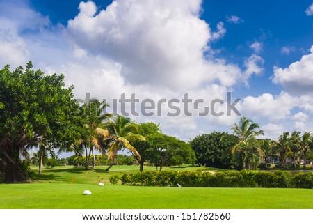 Coastal Golf Course in Tropical Paradise. Summertime holyday in Dominican Republic, Seychelles, Caribbean, Bahamas. Hawaiian Golf Course on Green Ocean Shore. Luxury Resort on Atlantic ocean. - stock photo