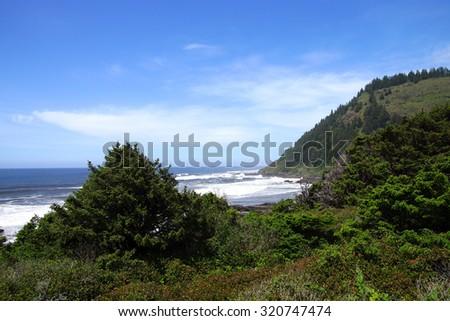 Coastal headlands near Cape Perpetua,  Oregon Coast - stock photo