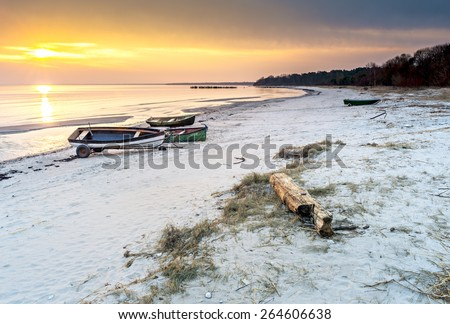Coastal landscape at village of fishermen, early spring, sunrise, Baltic Sea, Latvia, Europe - stock photo